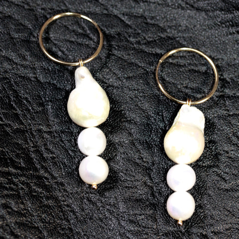 14ct Gold filled hoops Mabe Pearl Long  Earrings Medium- SALE