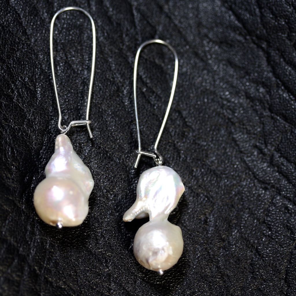 Sterling silver Mabe Pearl hanger Earrings - SALE