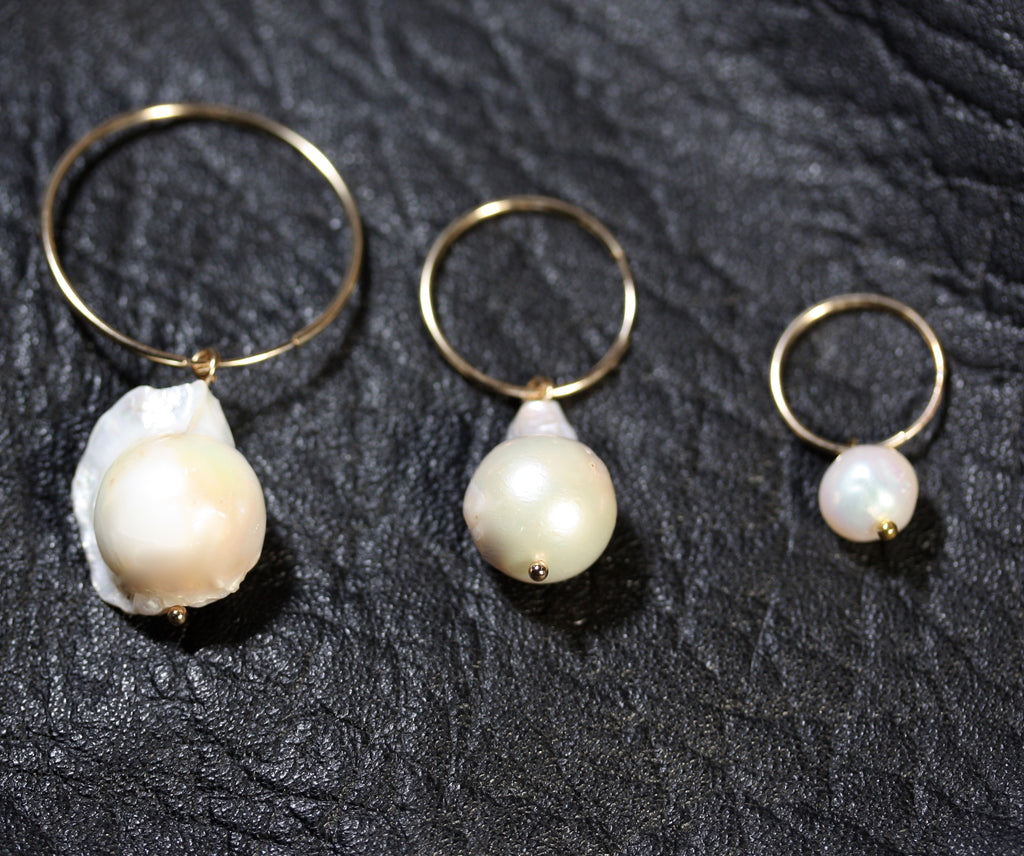 Sterling Silver hoops Pearl Earrings small- SALE