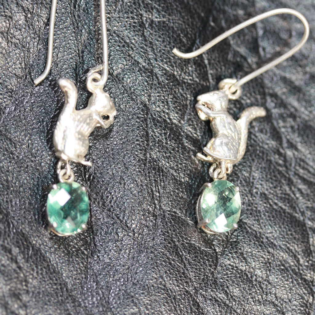 secret squirrel green earrings- Sale
