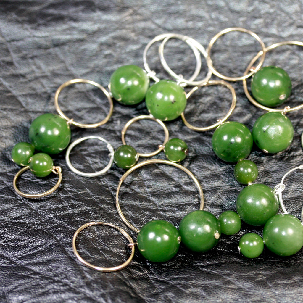 14ct Gold filled hoops Pounamu (Greenstone) Earrings  large - SALE