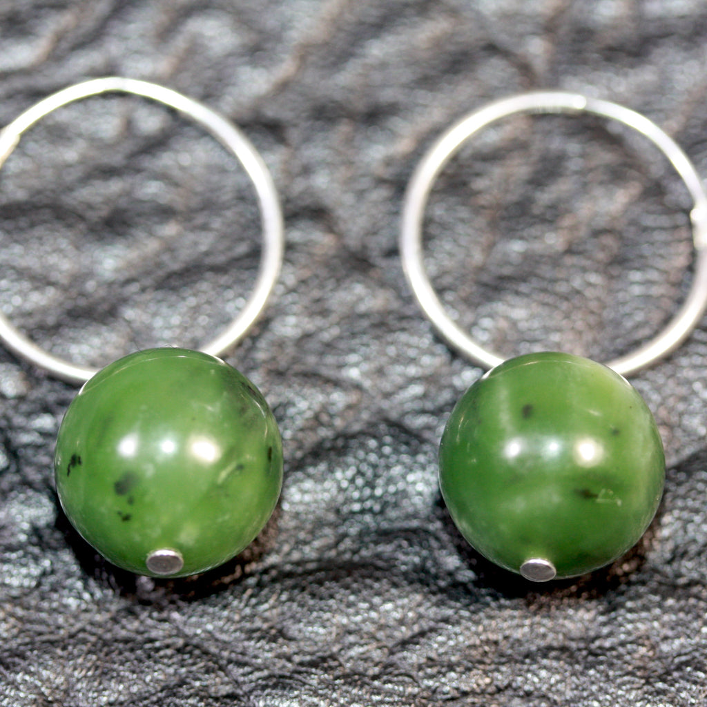 Sterling silver hoops Pounamu (Greenstone) Earrings medium - SALE