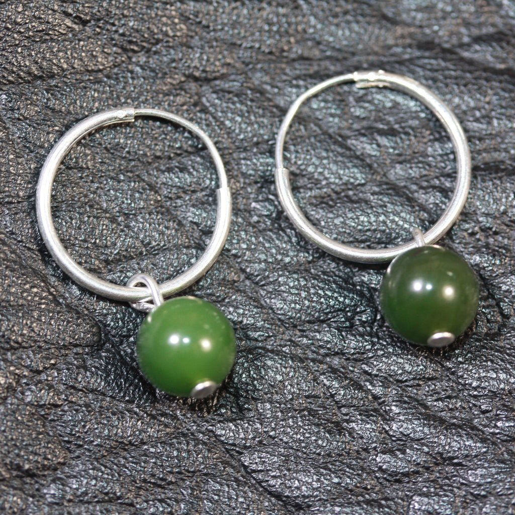 sterling silver hoops Pounamu (Greenstone) Earrings small - SALE