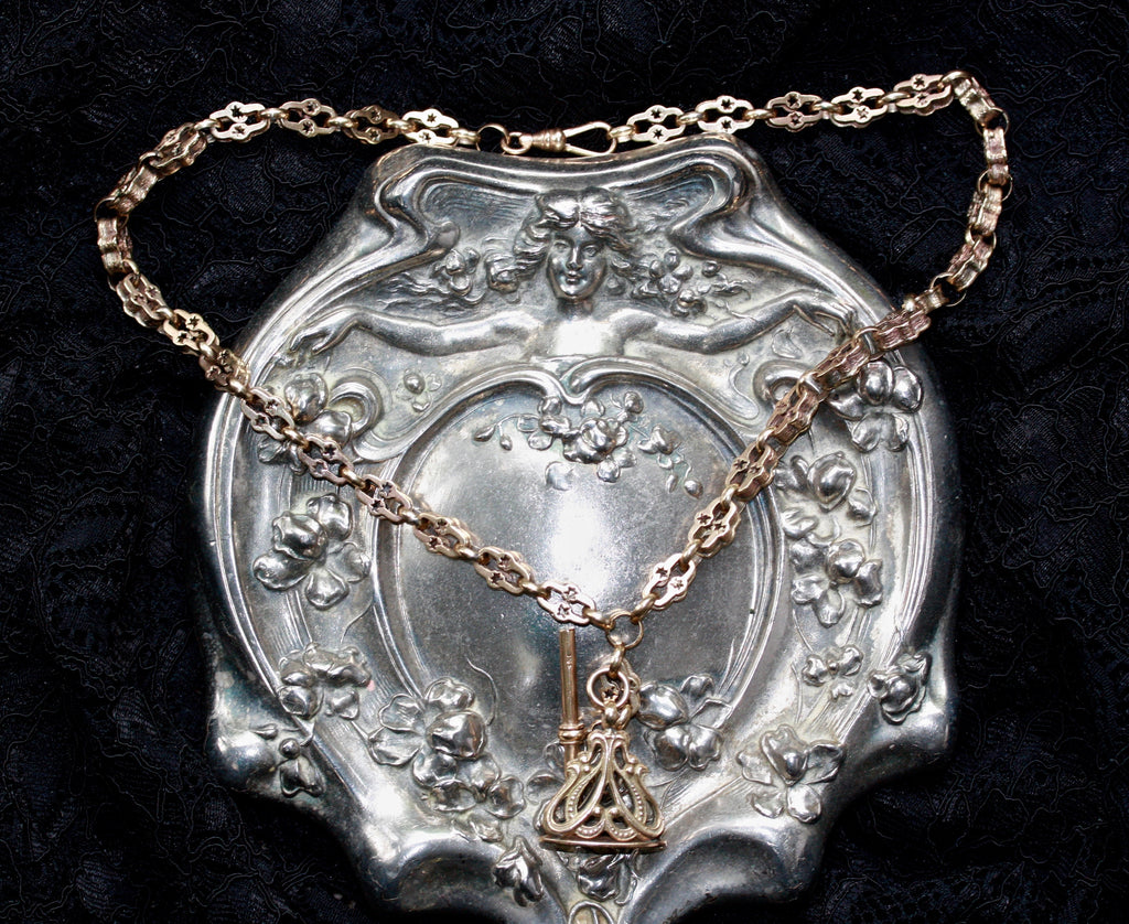 A RARE GEORGIAN 9CT GOLD HAND CUT NECKLACE WITH Victorian 9CT FOB ADDITIONS.