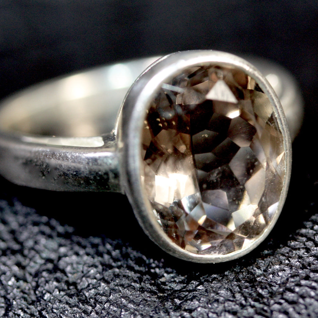 Smoky Quartz Oval Georgian ring size  L SALE