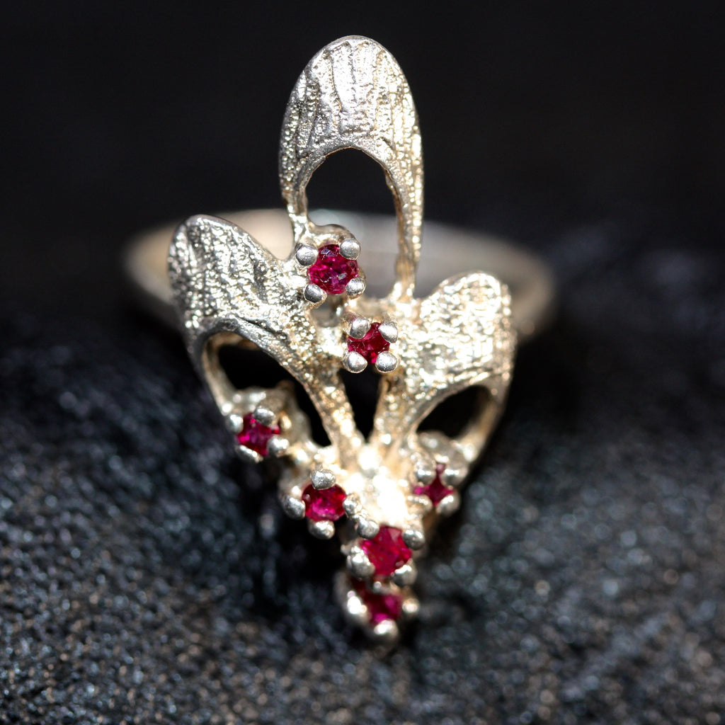My ruby floral bow ring - SALE
