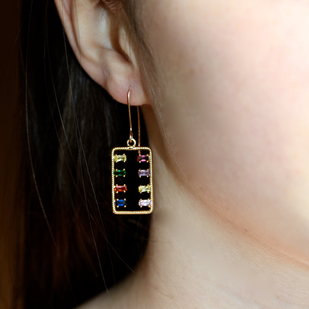 14ct Gold filled hook Rainbow Earrings Rectangle - SALE
