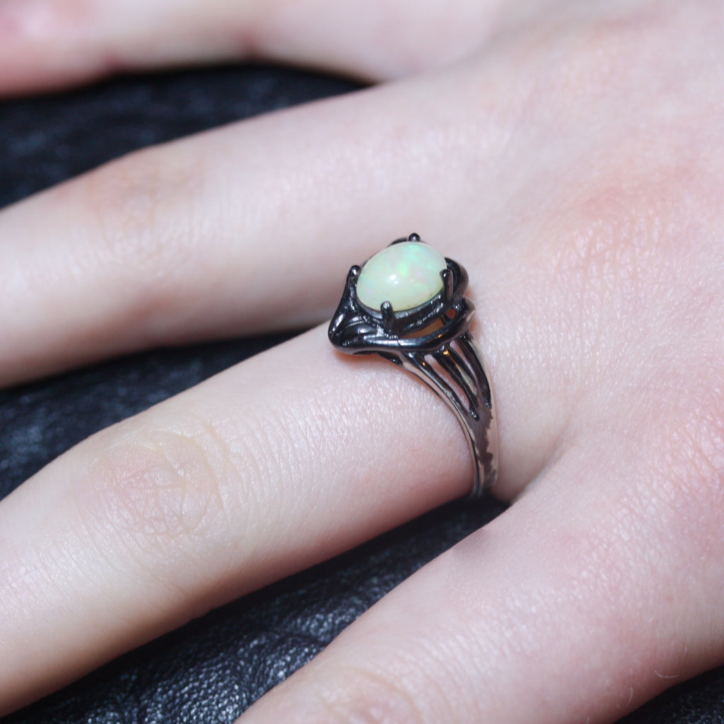 A Small white Opal Egg Ring size R1/2- SALE