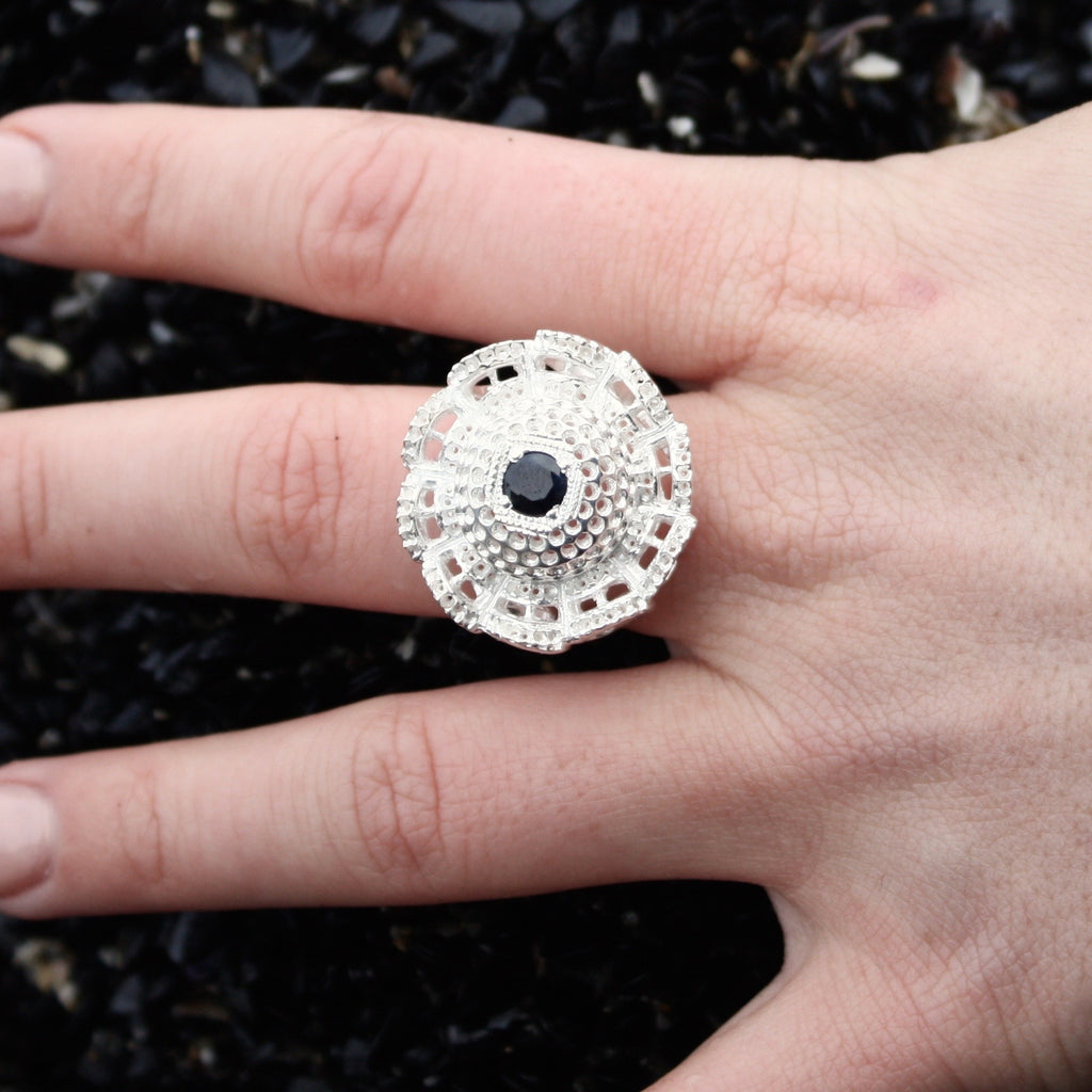 Floral Pod Ring With Stone