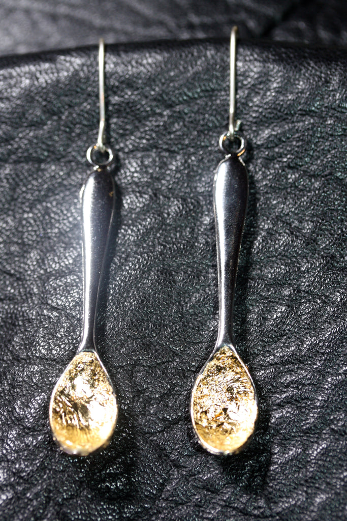 1 A A  silver golden Spoon earrings - SALE