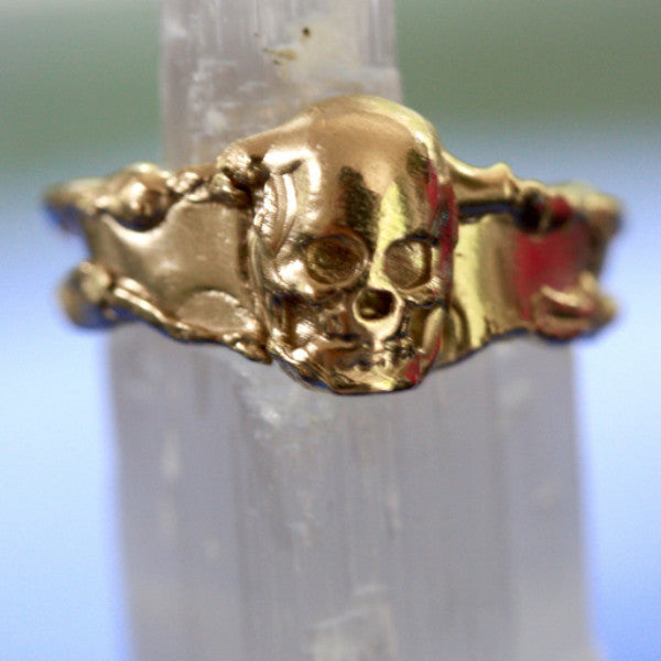 Hand Mashed 9ct Gold Skull Ring ( unisex )
