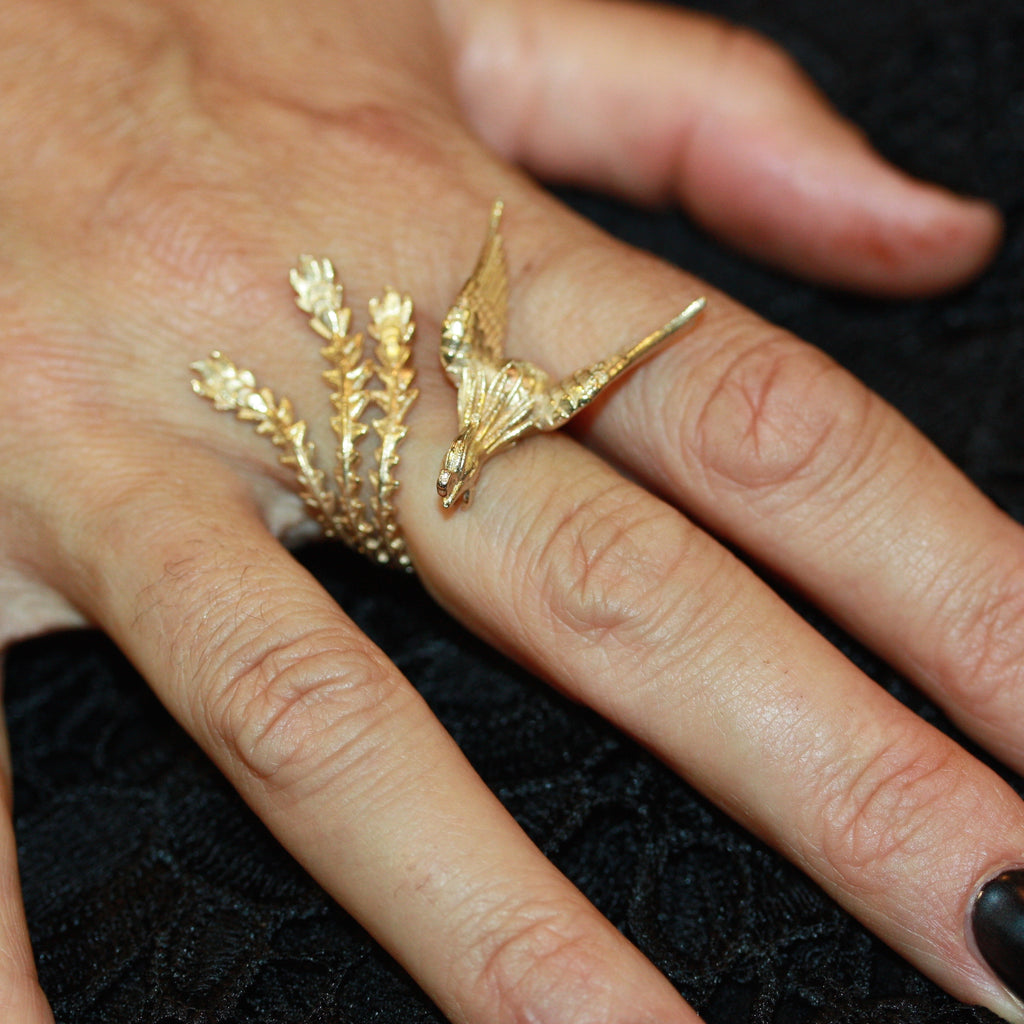 Diamond Eyed Luna Phoenix Ring -  Gold plated