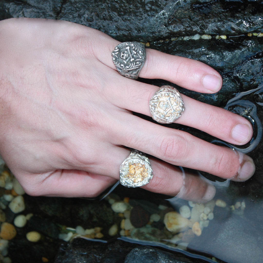 A Sterling Silver Gold Leaf  Sticks and Stones Ring (unisex) SALE