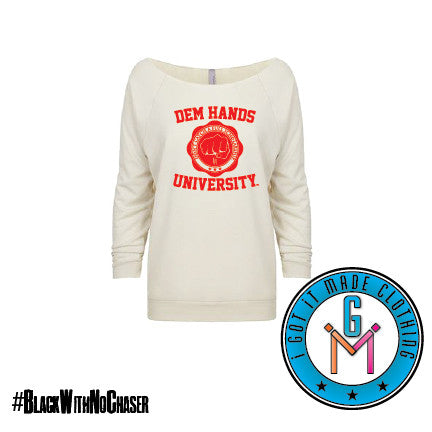 #BlackWithNoChaser Dem Hands University - Ladies' 3/4‑Sleeve Raglan