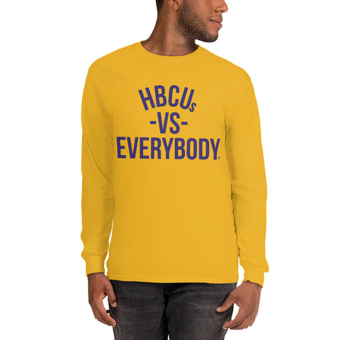 HBCUs vs Everybody Long Sleeve Shirt (Purple and Gold Edition)