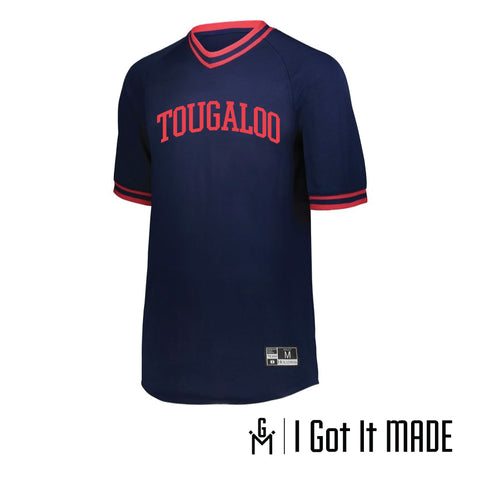 Tougaloo Retro V-neck Baseball Jersey