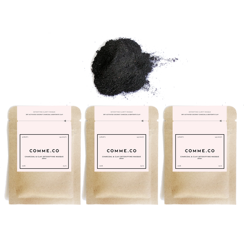 Detoxifying Clarity Face Masque: Activated Coconut Charcoal & Bentonite Clay, 3x 18ml