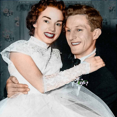Recoloured photo of 1950s bride and groom