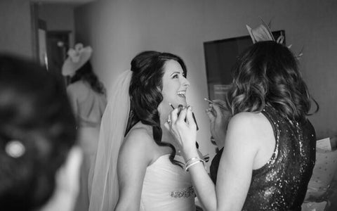 Hair Stylist and Makeup Artist Jenn Mathieson Working on a Bride
