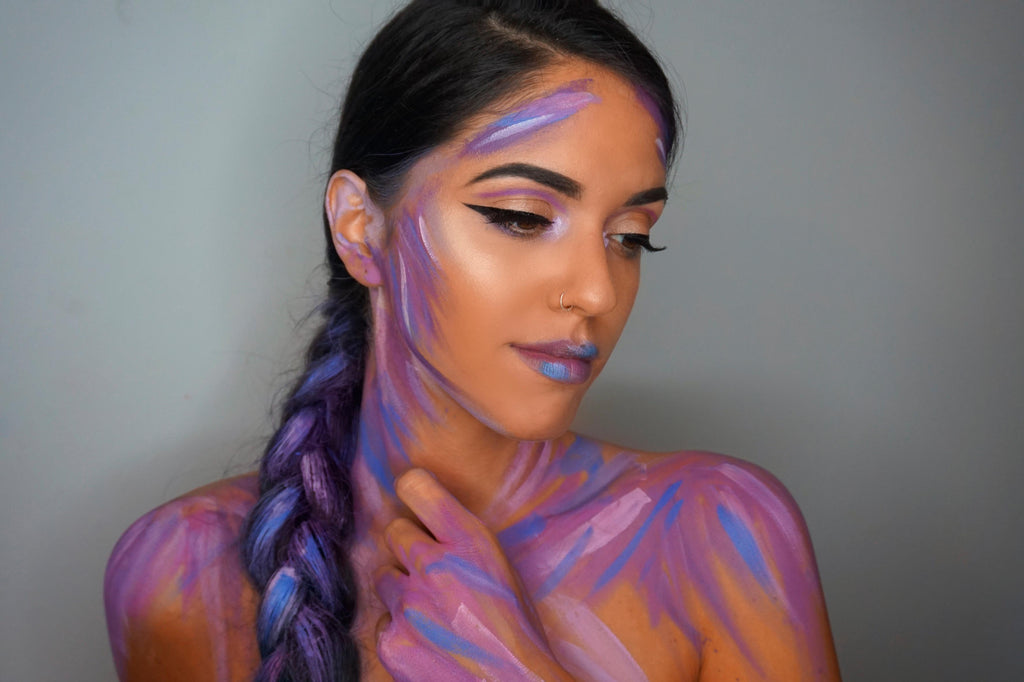 Painterly makeup look created by Dafne Martines