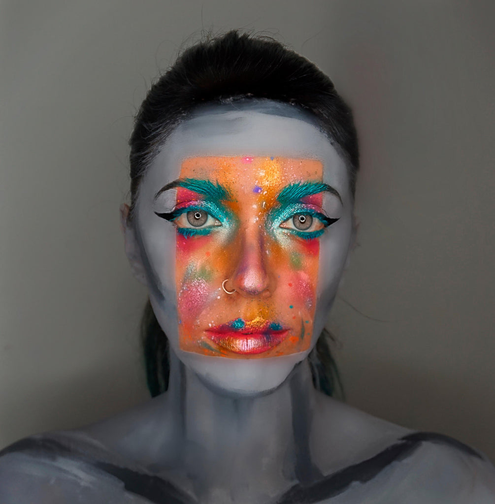 Cool colourful and and black and white makeup look by Dafne Martines