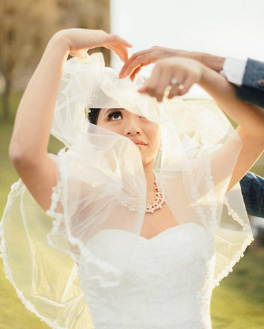 Photo of a bride under her veil