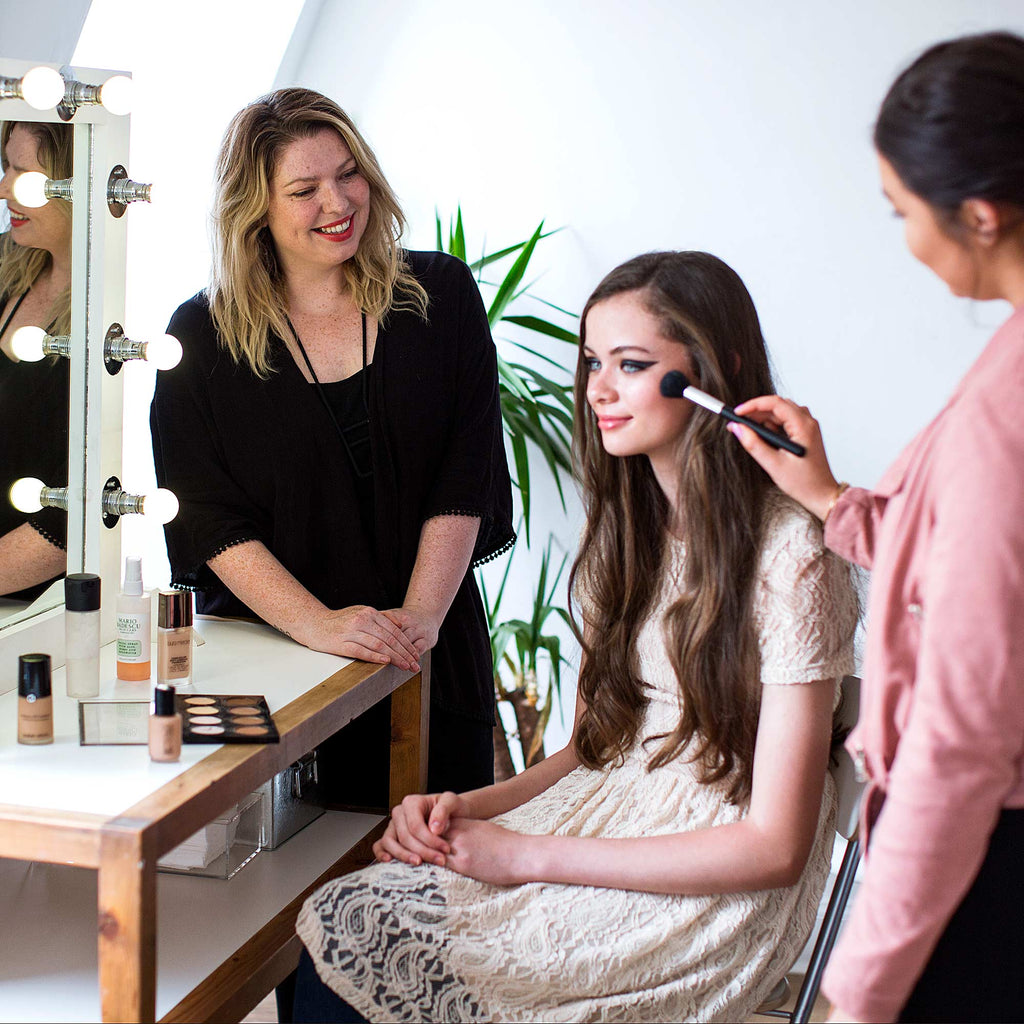 A student receiving one-to-one training at the Academy of Makeup Scotland
