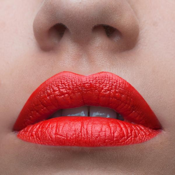 Close up of Lips wearing Sadie Doll Lipstick