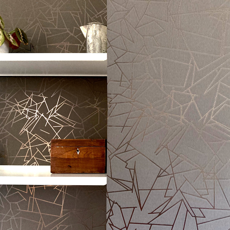 Angles bronze / cocoa brown wallpaper by Erica Wakerly