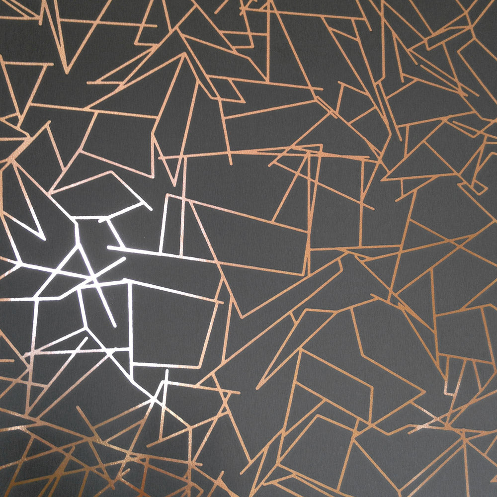 Angles copper rose / lead grey wallpaper