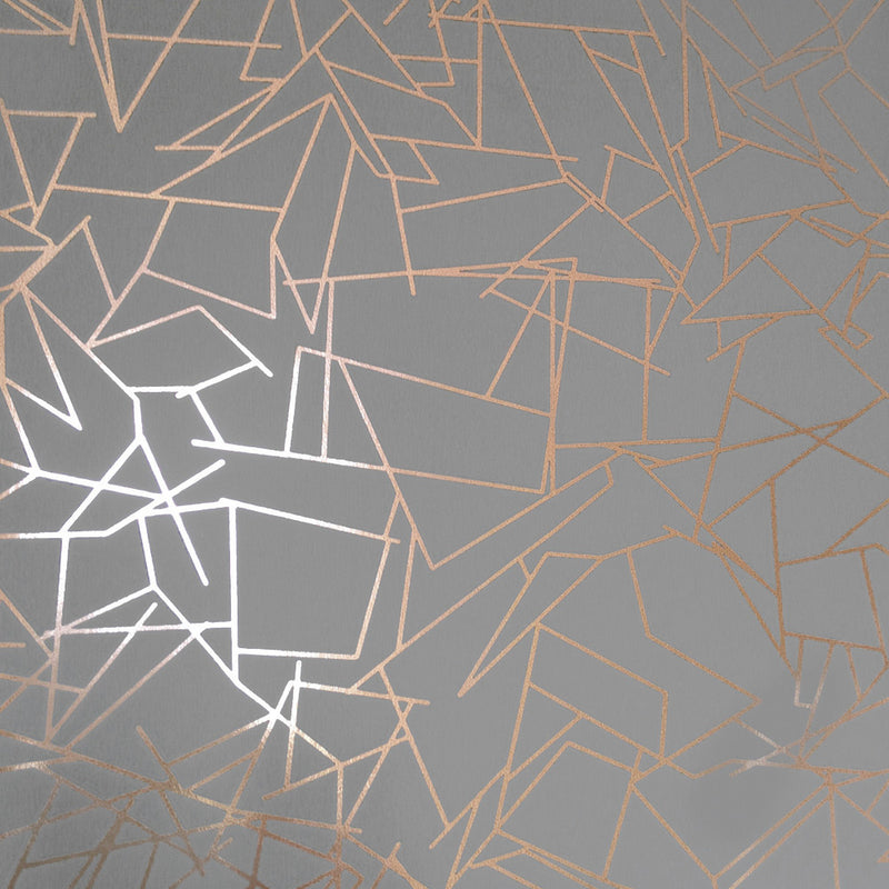 Angles copper rose / zinc grey wallpaper