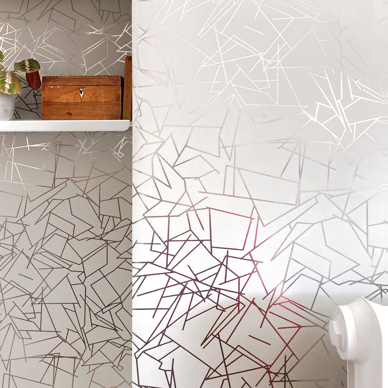 Angles pewter / white stone wallpaper installation
