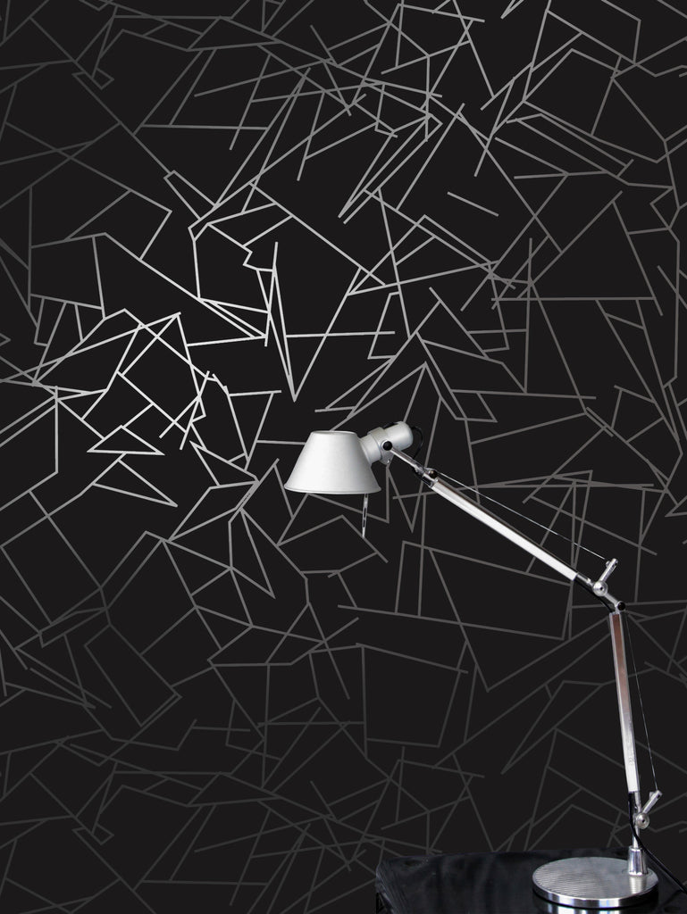 Angles silver black wallpaper by Erica Wakerly