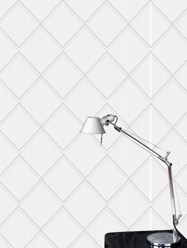 Argyle grey white wallpaper by Erica Wakerly