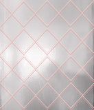 Argyle silver pink wallpaper by Erica Wakerly