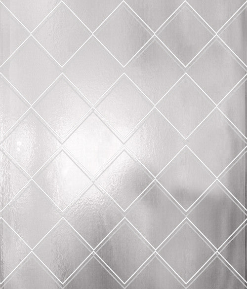 Argyle white silver wallpaper by Erica Wakerly