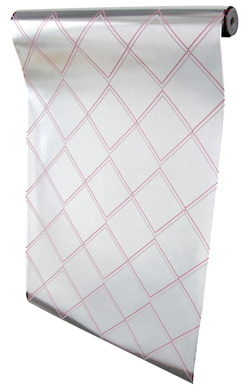 Argyle silver pink wallpaper by Erica Wakerly roll