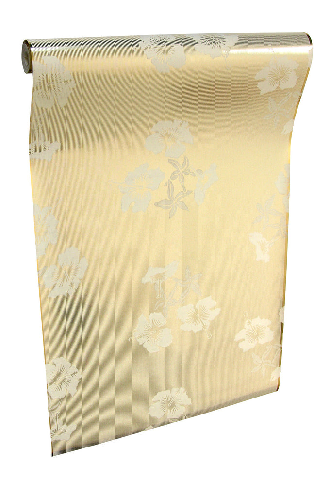 Hibiscus gold cream wallpaper roll