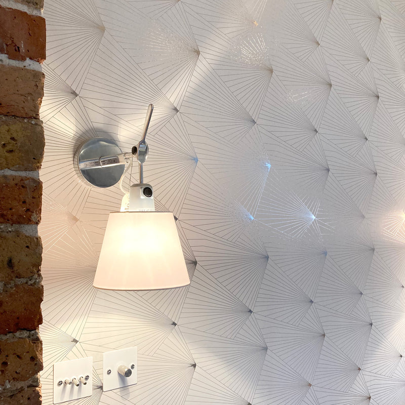 Fan pewter / white stone wallpaper by Erica Wakerly