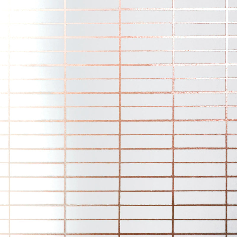 Grid copper rose / white