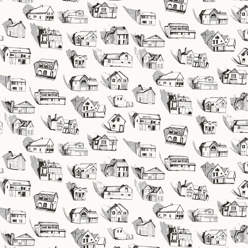 Houses black / grey / cream wallpaper