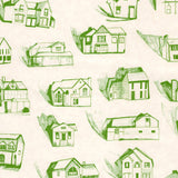 HOUSES green cream wallpaper by Erica Wakerly