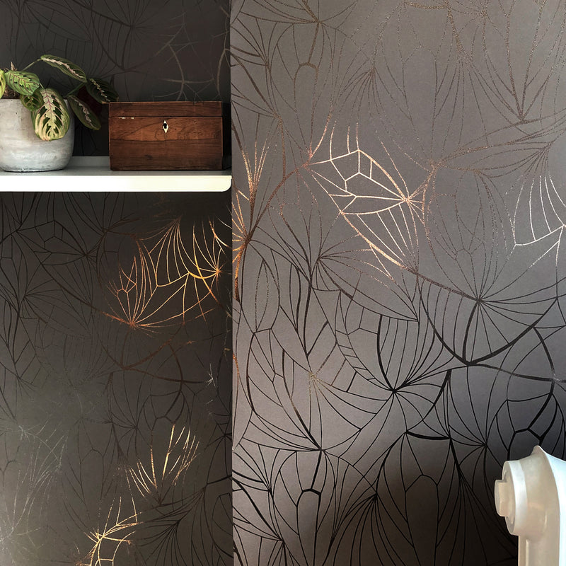 Leaf bronze / coca brown wallpaper by Erica Wakerly