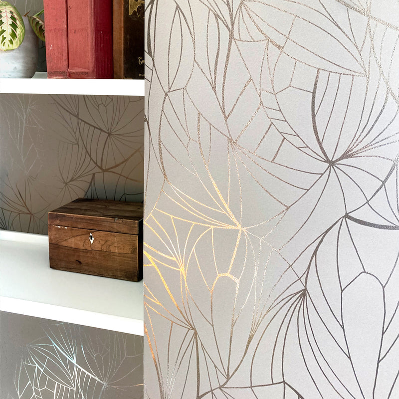 Leaf pewter / limestone wallpaper by Erica Wakerly