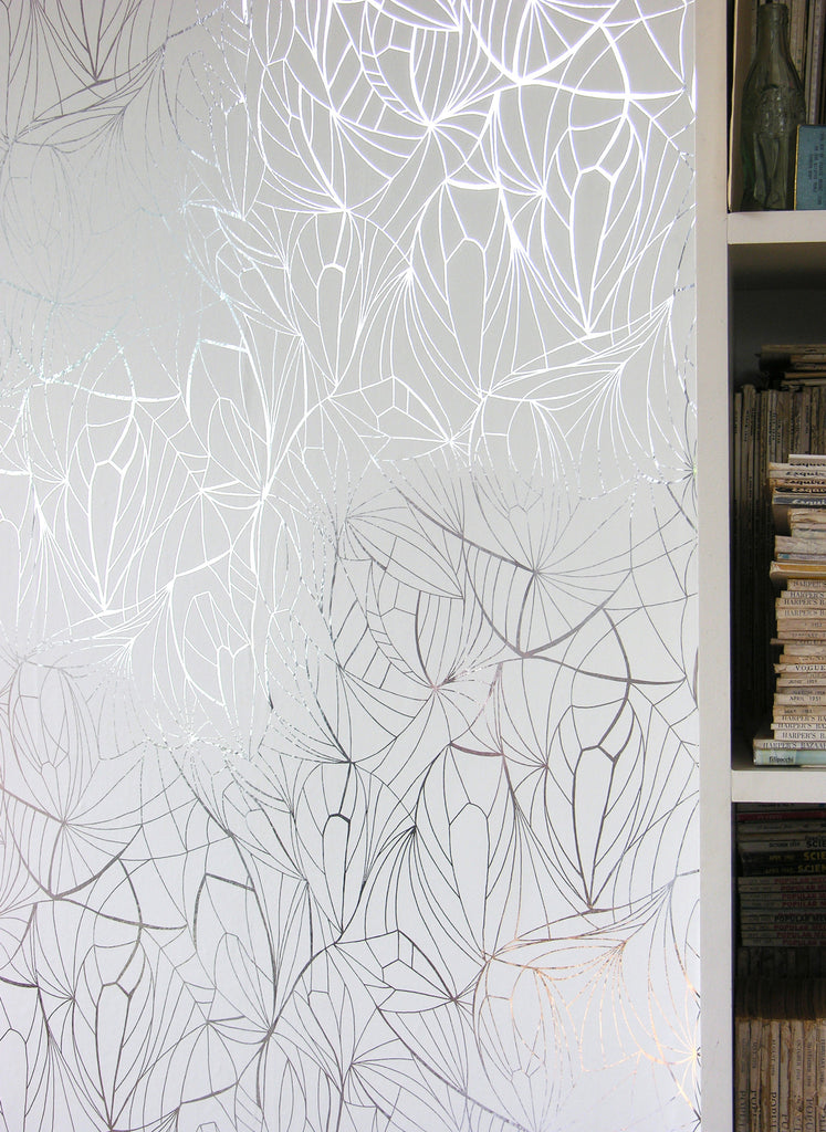 LEAF silver white metallic wallpaper by Erica Wakerly