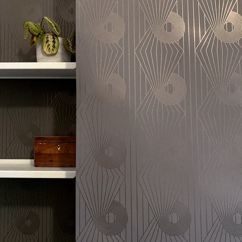Minispiral bronze / cocoa brown wallpaper by Erica Wakerly