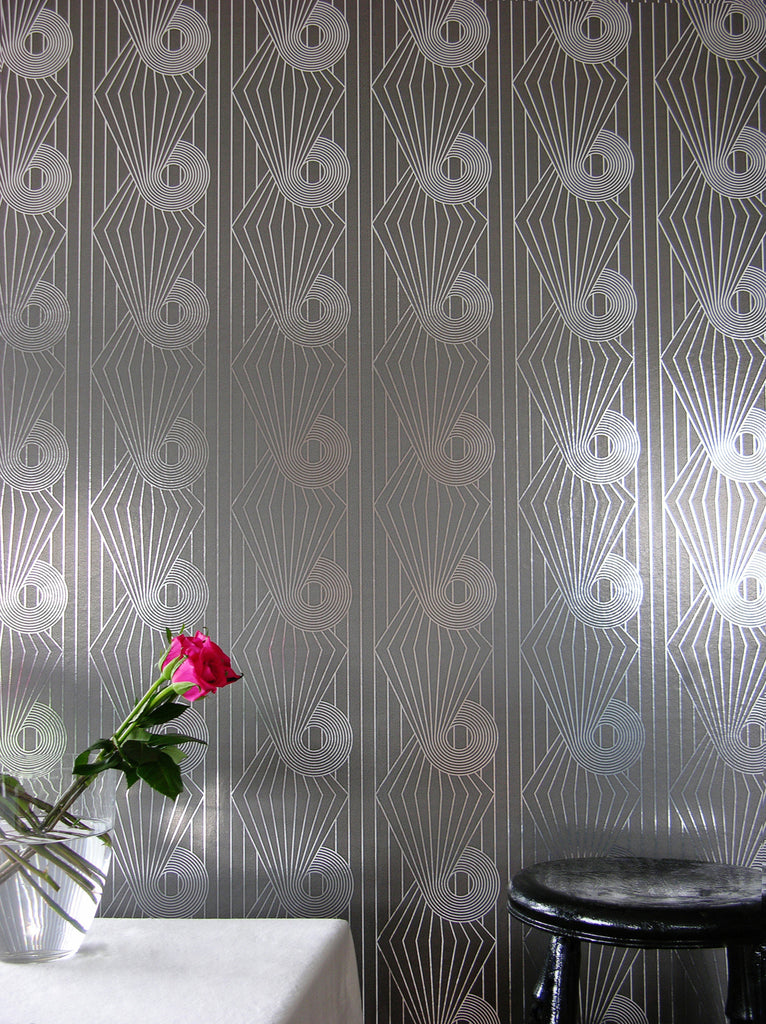 MINISPIRAL silver grey wallpaper by Erica Wakerly