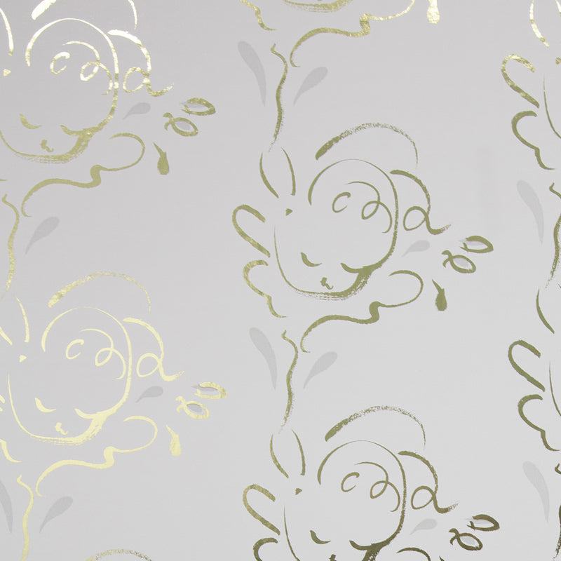 SERAPH gold and French grey wallpaper by Polly Dunbar Decoration
