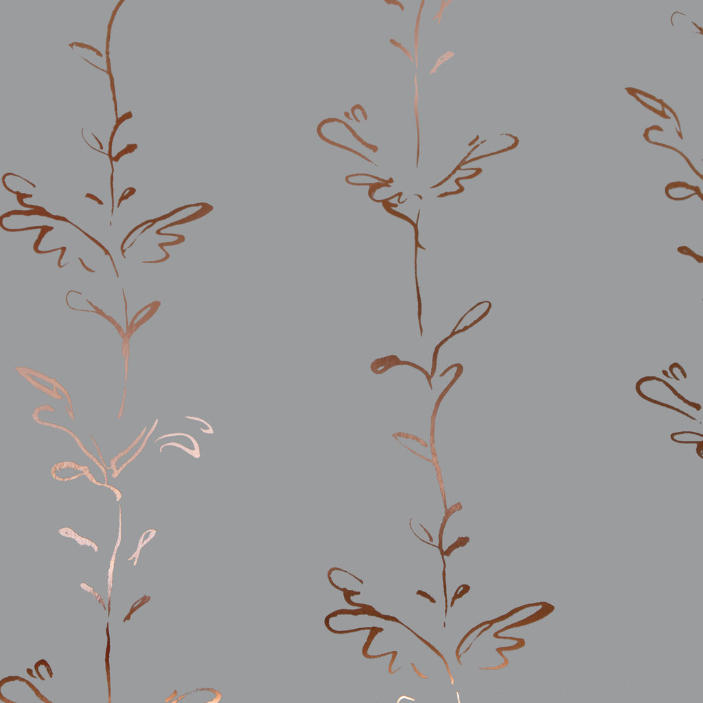 Stem copper rose / dusk grey wallpaper by Polly Dunbar Decoration