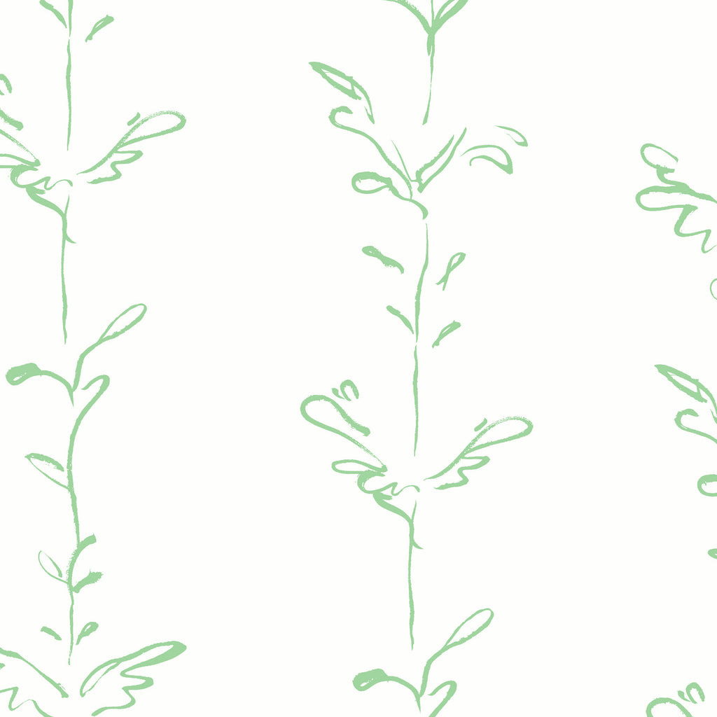 Stem green white wallpaper by Polly Dunbar Decoration